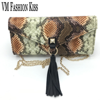 VM FASHION KISS Brand Ladies Tassel Snake Shoulder Bag Fashion Women Holding Chain Evening Bags Wedding Party Snake Handbags