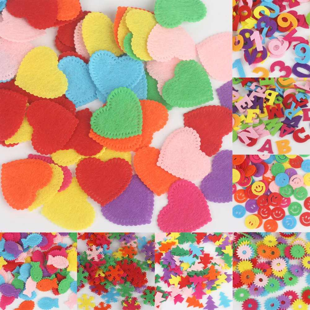 Round/Crown/Flower/Number Letters Felt Fabric Accessory Patches Circle Felt Pads, Fabric Patch Accessories 50-100PCS/Bag