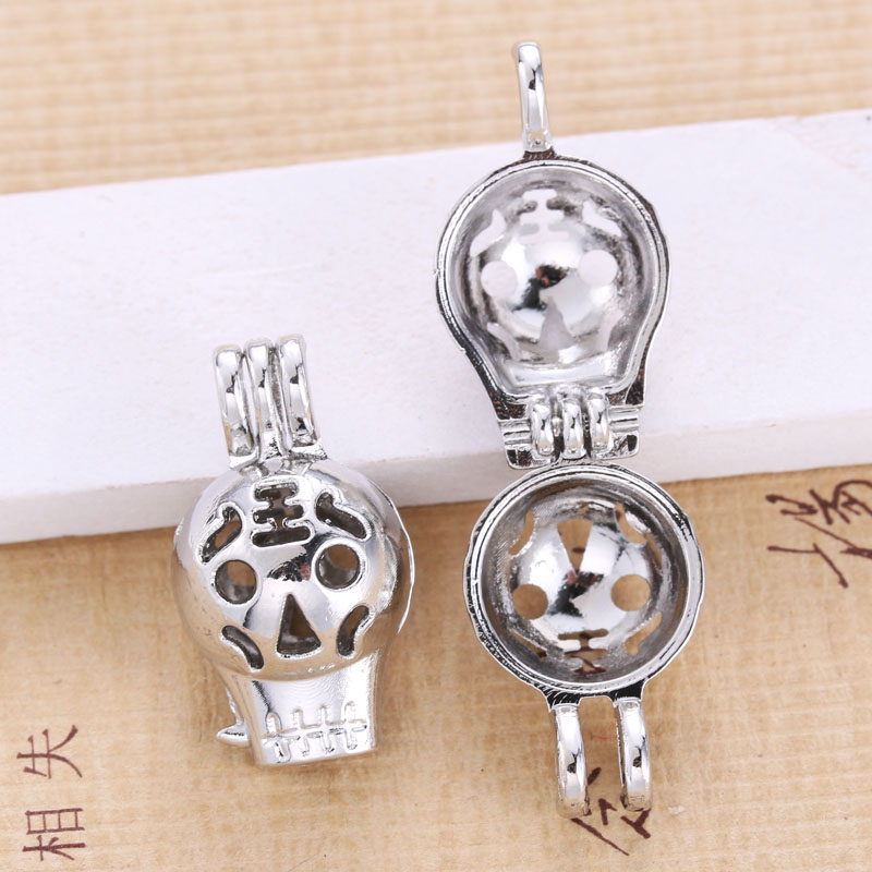 5pcs Bright Silver Cute Tiger Face Expression Pearl Cage Jewelry Pendant Aromatic Oil Diffuser DIY Necklace Oyster Pearl Gift