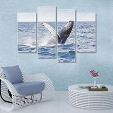 Laeacco Canvas Calligraphy Painting 4 Panel Sea Fish Animal Posters and Prints Wall Artwork Pictures Living Room Home Decoration