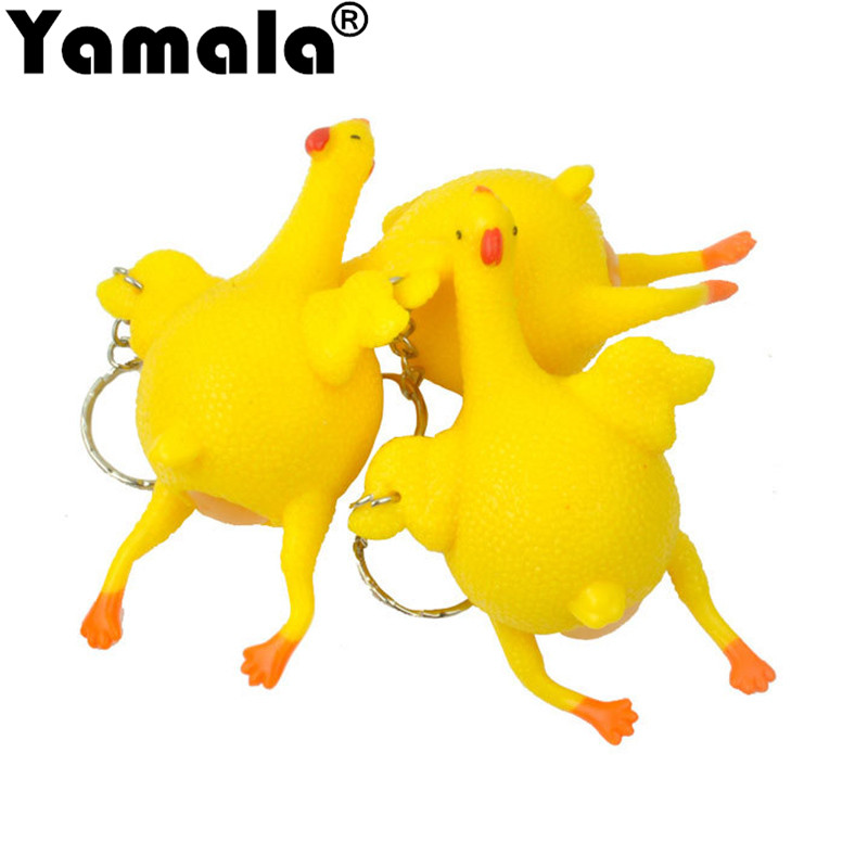[Yamala] DHL 100pcs/lot Chicken Decompression Splat Egg Venting Ball Anger Stress Reliever Ball Relief Toy  Vent Eggs Funny Toys shrilling chicken plastic decompression stress reliever toy