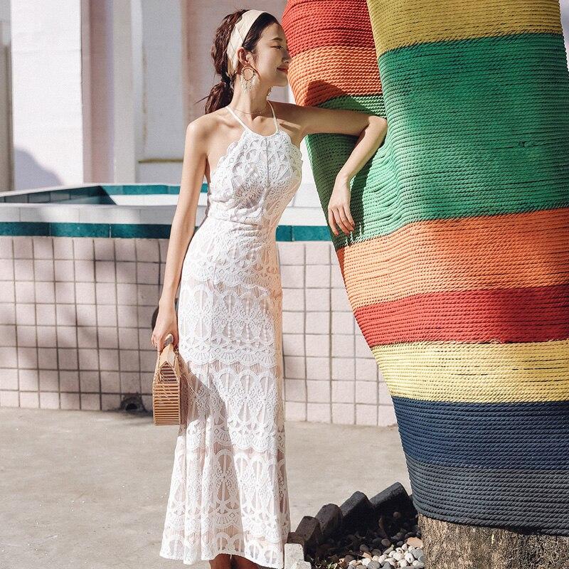 Lápiz Espalda Espagueti Bohemia Elegante Sin cuello Fiesta Correa Vestido Y longitud La Encaje 0 2019 De Tobillo Moda Nueva Verano Vestidos Primavera W1qYgna1
