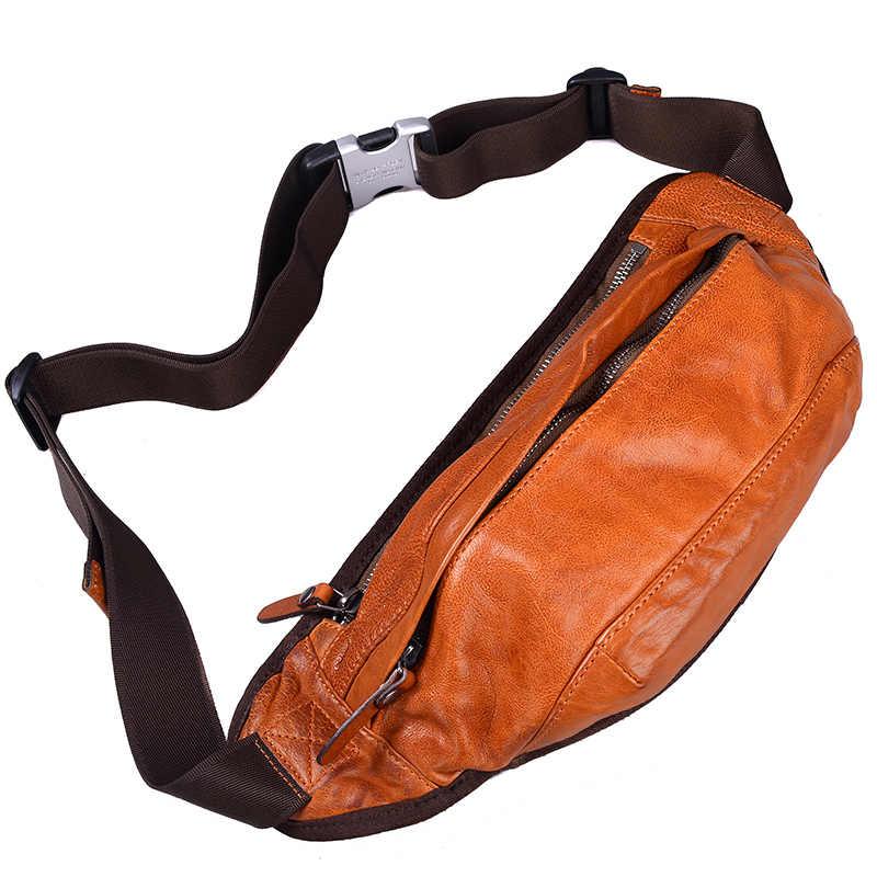 AETOO bolso de hombro de cuero para hombre bolso bandolera retro tendencia de cuero de hombre multifuncional práctico bolsa de pecho de gran capacidad