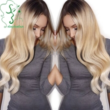 NEW #2/#24 Brown and Natural Blonde Full Lace Ombre Wig Human Hair Virgin Brazilian Glueless Full Lace Wigs Ombre Wavy On Sale