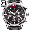 Suíça BINGER relógios homens marca de luxo de Quartzo pulseira de couro à prova d' água Cronógrafo Cronômetro relógios de Pulso B9202-10