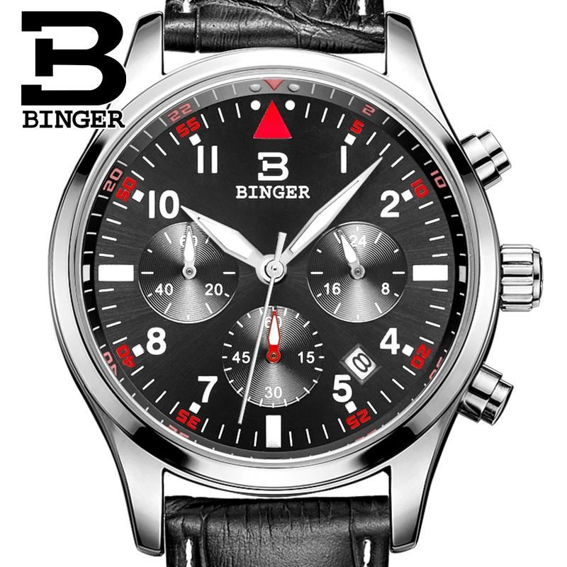 Switzerland BINGER men's watches luxury brand Quartz waterproof leather strap clock Chronograph Stop Watch Wristwatches B9202-10 switzerland binger men s watches luxury brand quartz waterproof leather strap clock chronograph stop watch wristwatches b9202 10