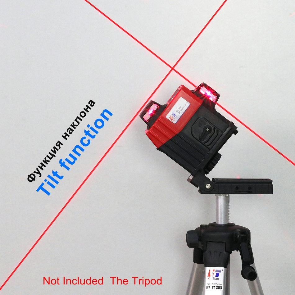KaiTian 12 Lines 3D Laser Level Receiver Self-Leveling 360 Horizontal 650nm Vertical Cross Livello Lasers Beam Line Levels Tools