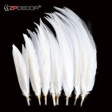 Beautiful new 40-75CM 16-30 inch natural silver mountain chicken tail feather used for craft wedding carnival decoration Plumes