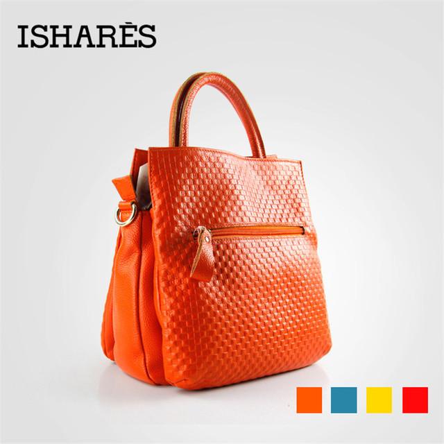 ISHARES genuine leather women sweet fresh fashion handbag shoulder bags ladies superior cowhide brand socialite tote bag IS8040