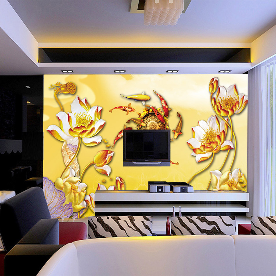 Rich Gold Fish around Lotus Vintage Art Wallpaper Bathroom 3d Wall ...