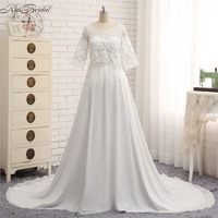 Vestido De Noiva New Fashion Chiffon Wedding Dresses Half Sleeve Chiffon Cheap Dress Bride Wedding Gown