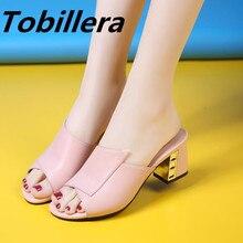 Tobillera Cómodo Mujeres Medio Metal Tacones Zapatillas Dulce Blanco Negro Rosa Zapatos de Cuero Genuino Sandalias de Punta Abierta de Nuevo Grande