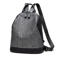 Women Leather Travel Backpack Bags 2019 Cool Geometric Girls School bag Panelled Silver BackPack Korean Leisure Daily Bag