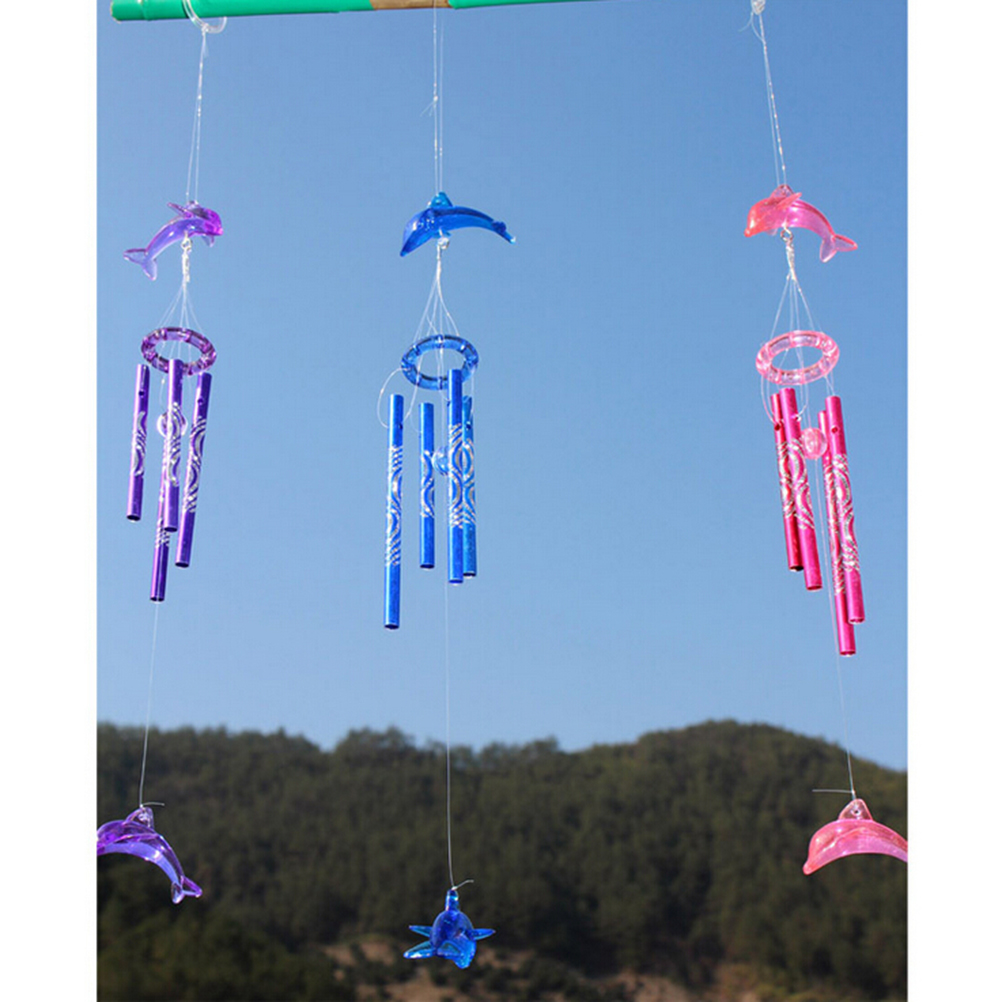 Christmas Door Garden Home Decoration Hanging WindChimes Crystal Dolphin Wind Chimes For Kids Birthday Gift