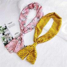 Spring Geometric Narrow Long Scarf Women New Soft Scarves 15*145cm Stylish Tie Belt Wrist Strap Small Ribbon Neck Headcarfs
