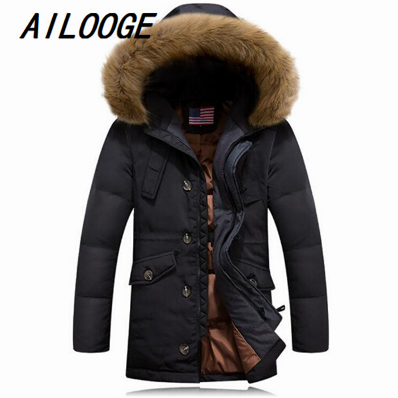 AILOOGE 2016 New Mens Duck Down Jacket With Raccoon Dog Fur Collar Mens Winter Coat Male Casual Brand Oversize wear
