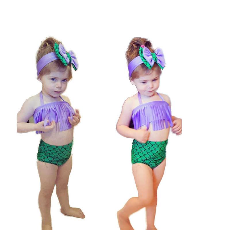 c0c59987b Two-Piece Little Girl Mermaid Tassel Swimsuits Baby Kids Girls Bikini Suit  Swimsuit Swimwear Bathing