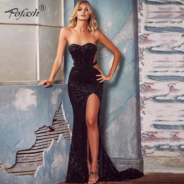 0bf6c52039c7efa POFASH 2018 Новое сексуальное платье с открытой спиной модное вечернее  платье с пайетками женское летнее платье