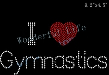 Free shipping i love heart gymnastics words rhinestone transfers motif  design motif(China) 6d6de4b8b48b
