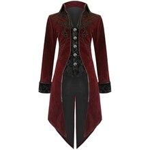 Laamei New Fashion Men Coat Vintage Swallowtail Stage Long Jacket Gothic Steampunk Lapel Uniform Outwear Button Dovetail Outwear