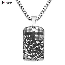 Punk Style Tattoo Long Chain Square Sea Wave Pendant Necklace Stainless Steel Necklace Charm Men Cool Punk Rock Jewelry недорого