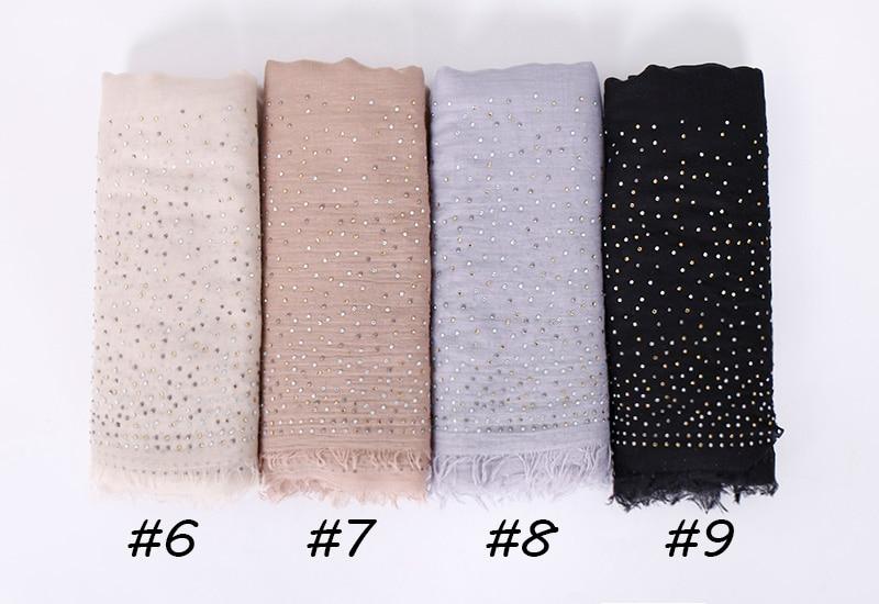 Women Modal cotton rhinestone Hijab scarf shawls sparking diamond muslim Turban wraps fringe shawls long wrap scarves 190*120cm