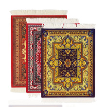 Persian Mini Woven Rug Mat Mousepad Retro Style Carpet Pattern Cup laptop PC Mouse Pad with Fring Home Office Table Decor Craft