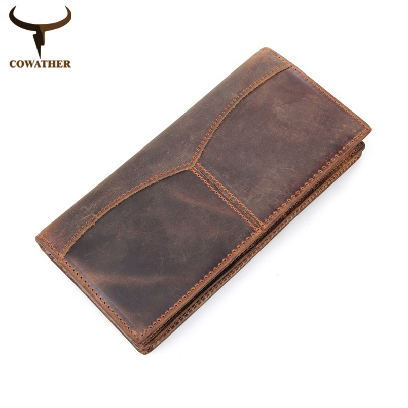 COWATHER top quality men wallets luxury crazy Horse genuine leather long vintage dollar male carteira masculina free shipping cowather 2017 crazy horse leather men wallets vintage genuine leather wallet for men cowboy top leather free shipping