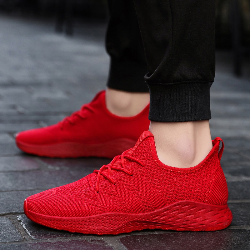GYKZ Breathable Sneakers Male Shoes Adult Red Black Mesh