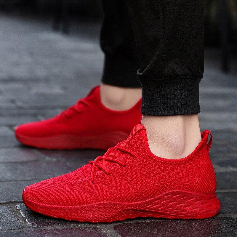 Zapatillas transpirables para hombre, zapatos para hombre, zapatos para hombre, rojo, negro, gris, de alta calidad, cómodos, antideslizantes, de malla suave para hombre, zapatos de verano tamaño 39-46