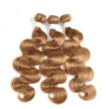 Объемная волна, бразильские человеческие Remy волосы для наращивания, двойные, 3 шт., 613 цветов, светильник, черный, коричневый, блонд, пучок, 99J 27...