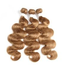 Hair-Extension Bundle Blonde Double-Drawn 33 Human Brazilian Light Brown Body-Wave Remy