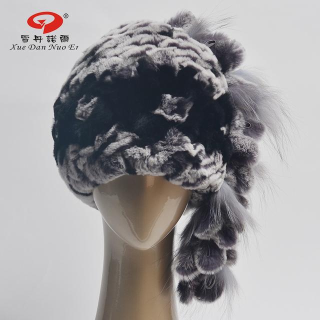 Mulheres genuíno chapéu de pele de coelho Rex verdadeira pele de coelho chapéus alta qualidade natural Rex rabbit fur pompom chapéu do ano novo venda