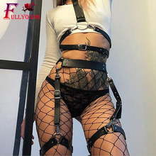 Fullyoung Garter belt Leather Harness  Sexy Belts Women Waist To Leg Bondage Cage Straps Bra