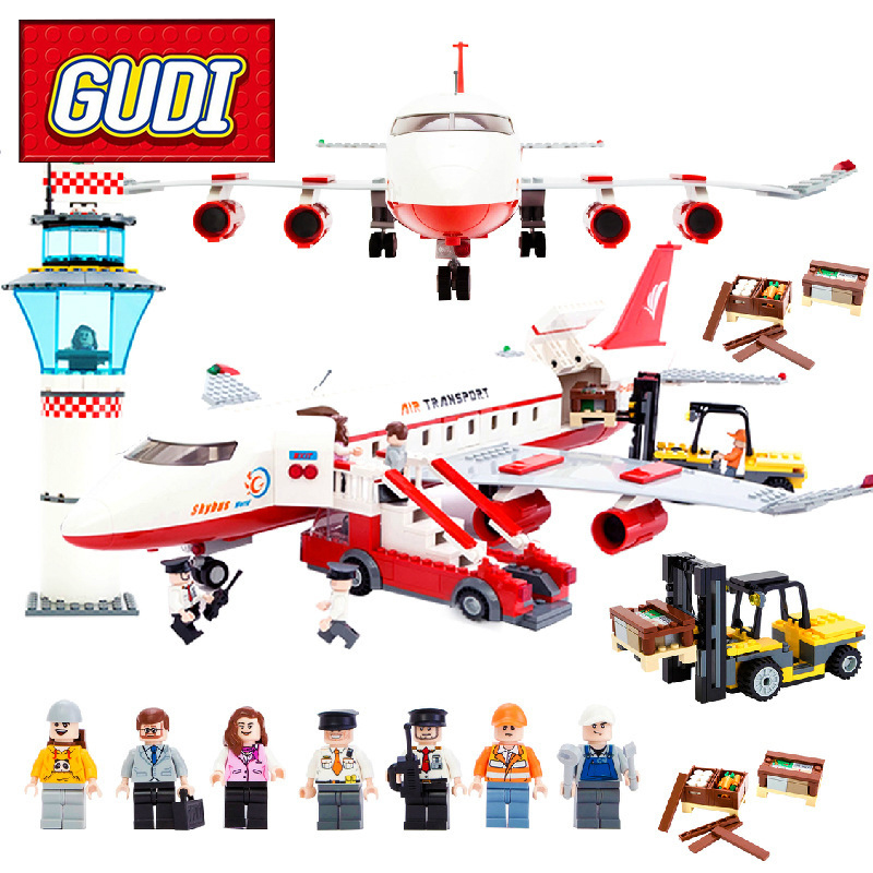 GUDI 8913 City Passenger Airplane Building Blocks 856pcs Kids DIY Bricks Toys for Children Birthday Gift Toy Brinquedos gudi earth border blocks children