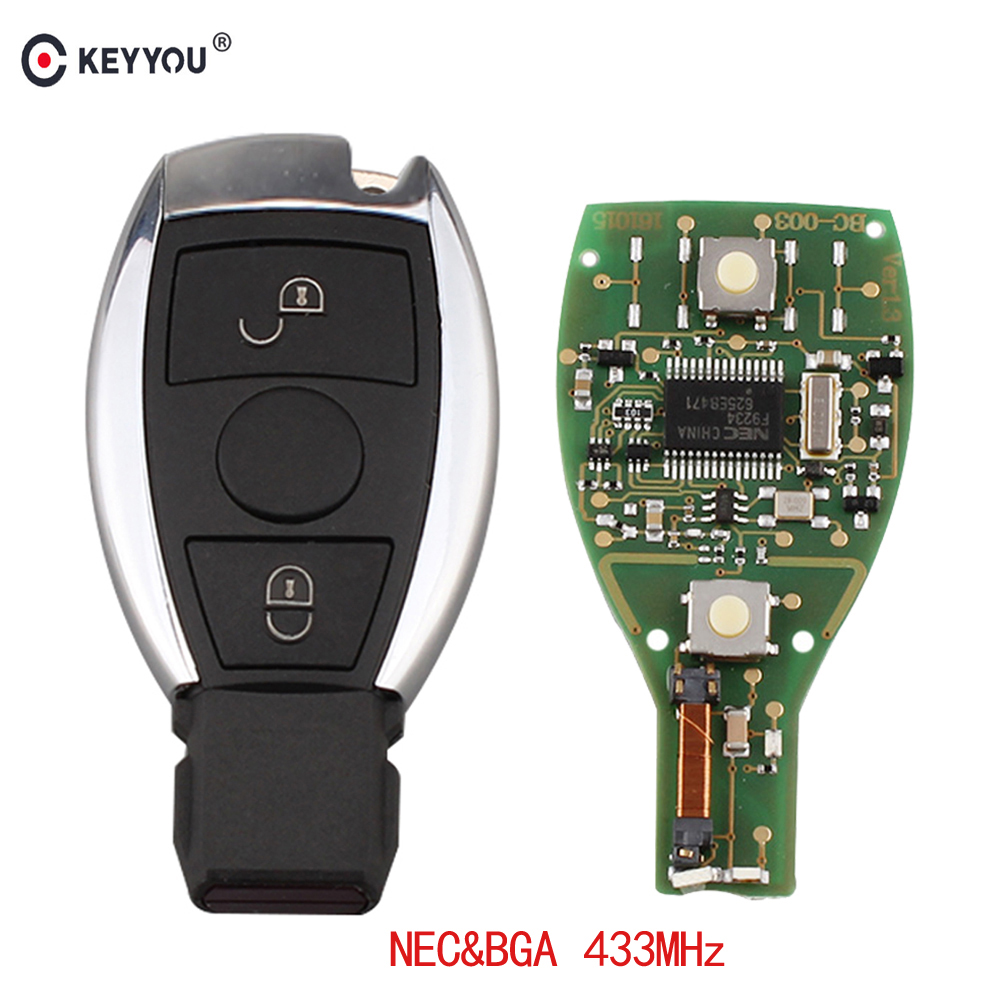 KEYYOU Remote Control Car Key Fob Case 2 button 433MHz For Mercedes BENZ 2000+ with NEC&BGA Key Shell цена