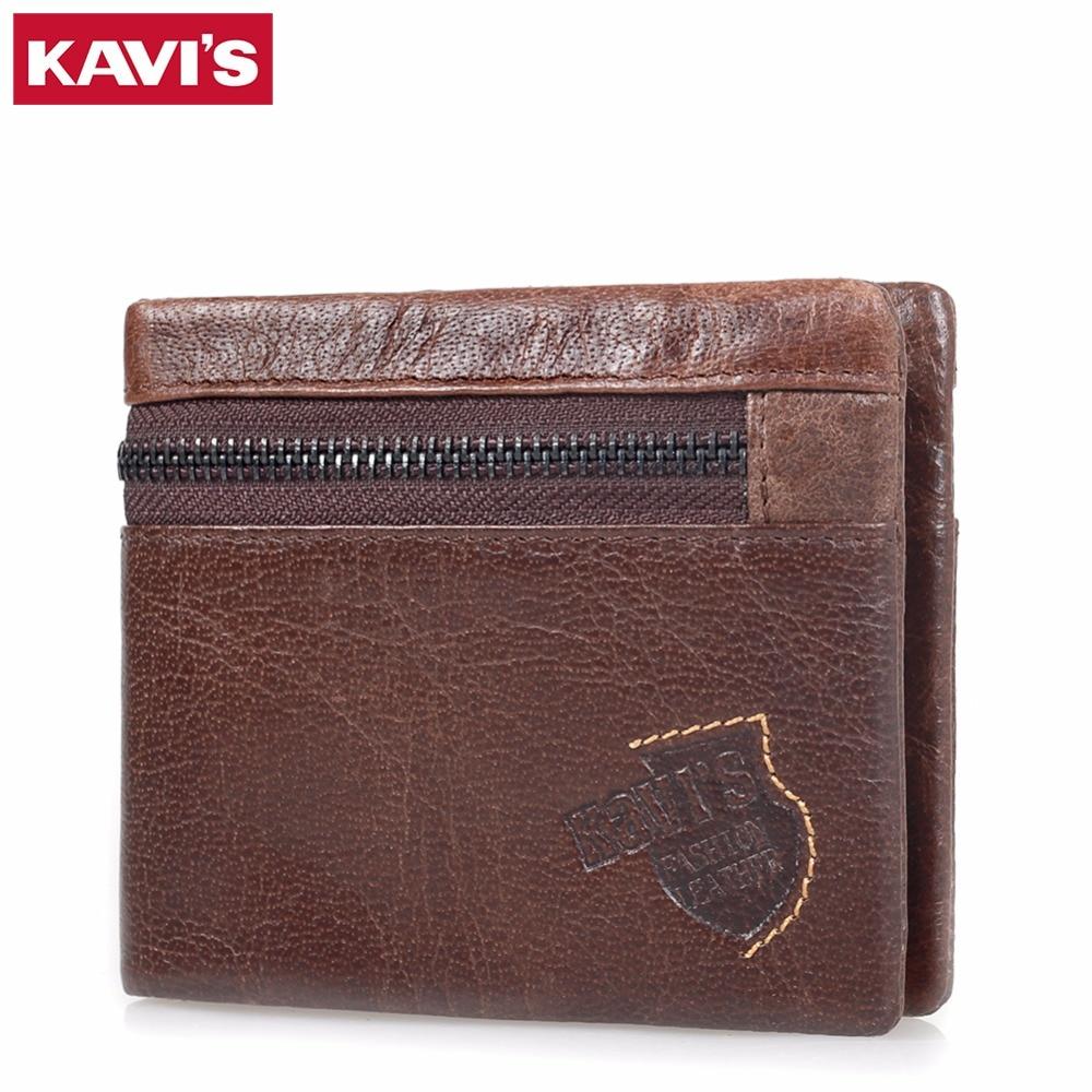 KAVIS Famous Brand Men Wallet 100% Genuine Leather Male Cuzdan Coin Purse Short Design Pocket Walet Portomonee Small Mini Perse