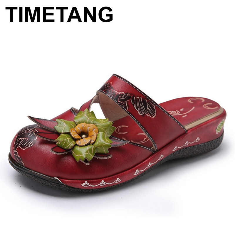 TIMETANG Flower Slippers Genuine Leather Shoes Handmade Slides Flip Flop On The Platform Clogs For Women Woman Slippers