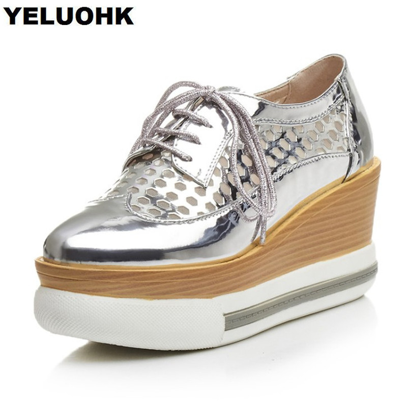 2018 New Arrive Hollow Breathable Mesh Shoes Woman Comfortable Wedge Platform Shoes Women High Heels Summer Shoes women s shoes 2017 summer new fashion footwear women s air network flat shoes breathable comfortable casual shoes jdt103