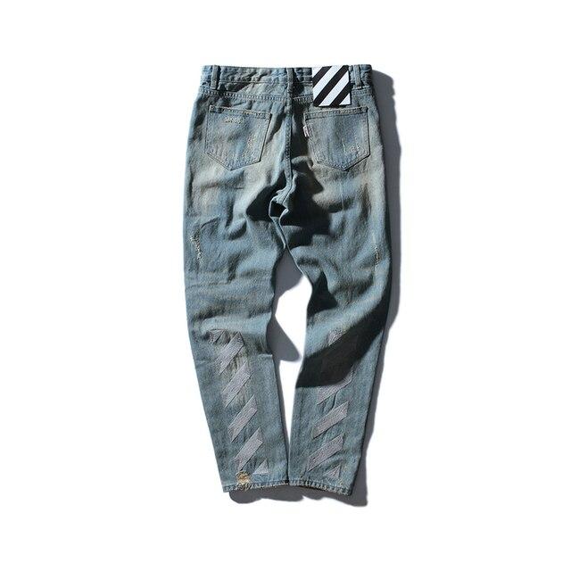 Estilo de La Manera ocasional off blanco hip-hop de alta calidad molino de lavado con agua de Mezclilla Retro desgaste rayas bordado mujeres de los hombres pantalones vaqueros