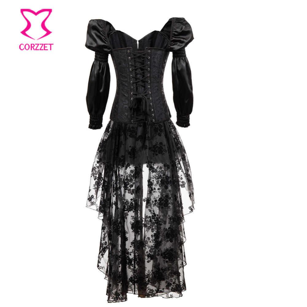 Corstory викторианская черная атласная и парча стальная Boned с длинным рукавом Overbust Корсетная юбка Бурлеск стимпанк готические корсеты платье