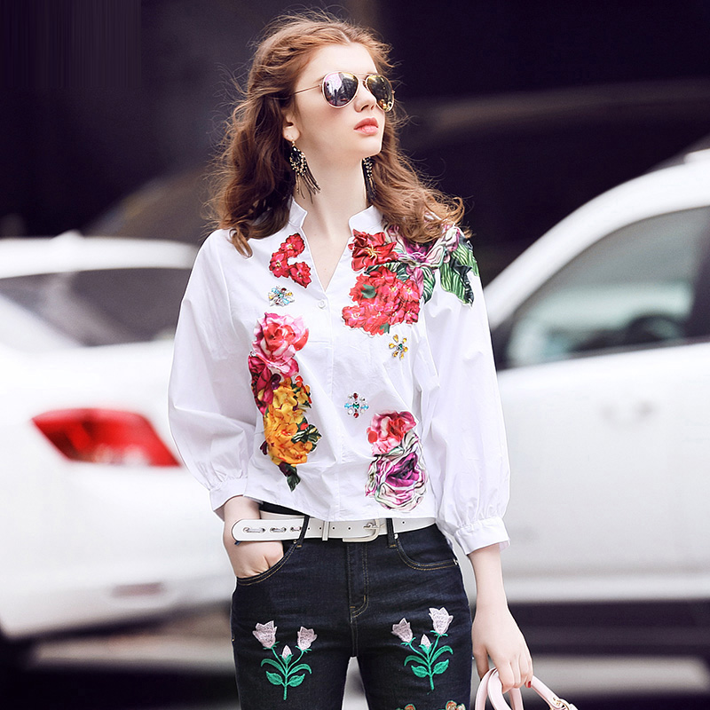 Spring 2017 Newest Fashion Print Patch Designs Embroidery Women Shirt Stand Collar Single breasted Three Quarter