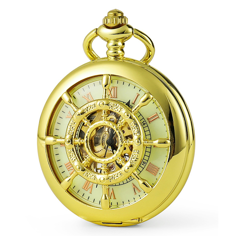 2019 Mens New Fashion Shine Gold Nautical Pattern Hollow Mechanical Pocket Watch Men Luxury Gift Watch C450
