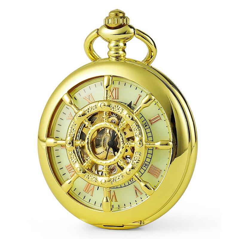Mens Watches New Fashion Shine Gold Nautical Pattern Hollow Mechanical Pocket Watch Men Luxury Gift Watch Free Shipping C450