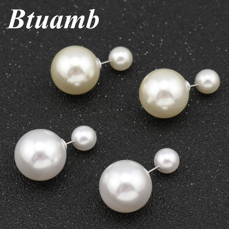 Btuamb Simple Style Simulated Pearl Earrings Hot Selling Double Sides Ball Stud Earrings For Women Jewelry Boucle Doreille Femme