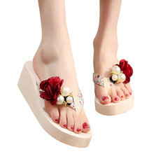 Summer Shoes Women Slippers Flowers Platform Shoes Woman Beach Shoes Slides Flowers Platform Wedges Shoes vtota slippers women fashion open toes women summer shoes heel shoes women slides platform wedges shoes female slippers g63
