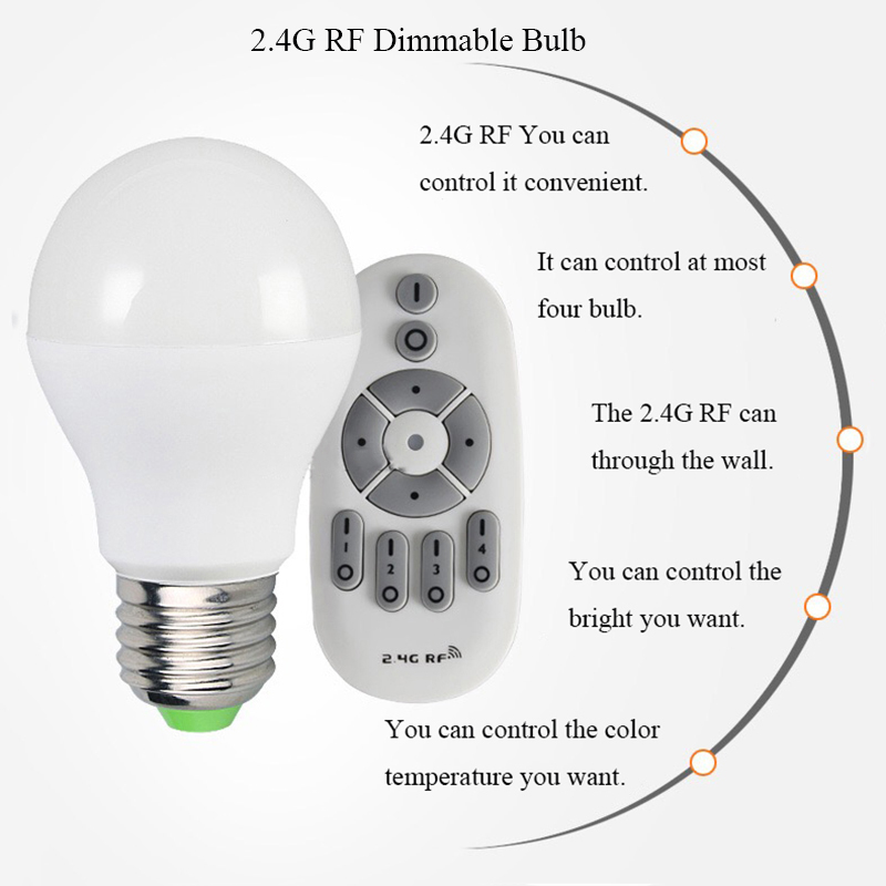 E27 6W LED Dimmable Bulb Light AC100V-265V 110V 220V Lamp with 2.4G Wireless RF Remote Control for Bedroom Living Room itimo wireless led bulb with remote control dimmable 220v e27 home indoor lighting night light us plug bedroom light lamp