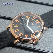 Casual 46mm Parnis Rose Gold Watch Case Black Dial Orange Numbers Hand Winding Wristwatch