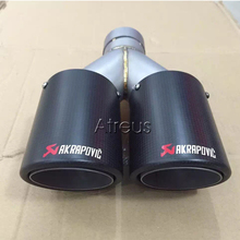Multiple Sizes Twin Akrapovic Carbon Fiber Car Exhaust Muffler pipe Tips For Ford Volkswagen Renault Chevrolet Skoda Accessories