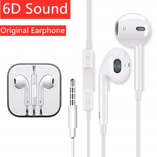 Original Earphones Wire Hybrid Stereo In-Ear Earphone With Mic Wire Sound Control For IPhone 6 6S Plus 5S SE MP3 IPad Phone(China)